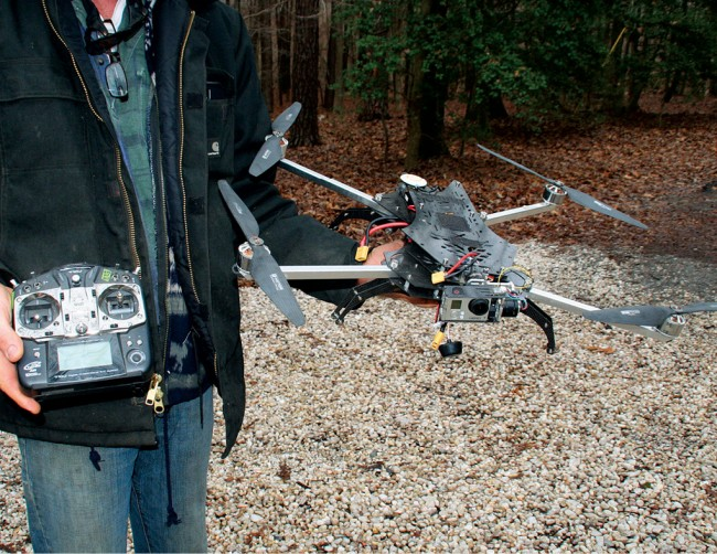 A standard drone and control unit, which can be used to survey hard- to-access land.